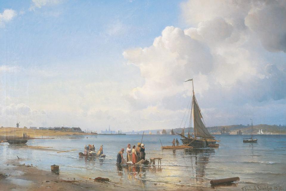 C. F. Sørensen: Parti ved Øresund med Kronborg og Tibberup Mølle i Baggrunden. 1878: Source: wikipedia