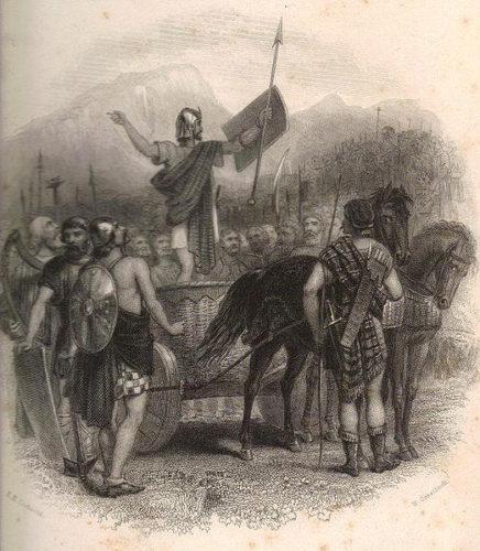 Slaget ved Mons Graupius i AD 83, hvor England i følge Tacitus blev helt underkastet romerne. Ill. fra 19. århundrede